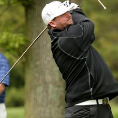 Bobby Bradley, a former World Long Drive Finalist, tees off in Ron Jaworski's Celebrity Golf Challenge in 2013.