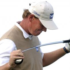 FILE - In this Aug. 13, 2004, file photo, Ernie Els reacts after hitting his ball into a bunker on the 16th hole during the second round of the PGA Championship at Whistling Straits in Haven, Wis. Els is considered among the five best to have never won