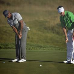 Love and Woods warmed up side by side at Wyndham.