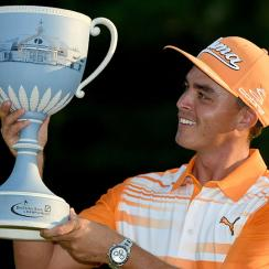 Rickie Fowler with the winners trophy after winning Deutsche Bank Championship at TPC Boston on September 7, 2015 in Norton, Massachusetts.