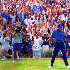 Tiger Woods reacts after his ace at the 1997 Phoenix Open.