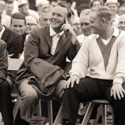 Gary Player, Arnold Palmer and Jack Nicklaus during the jacket ceremony at the 1965 Masters.