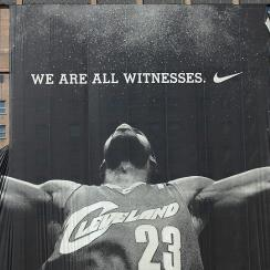 One of the indelible images of LeBron James' exit from Cleveland was this giant advertisement being torn down.
