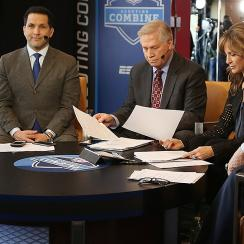 ESPN's Adam Schefter, Chris Mortensen and Suzy Kolber on set at the 2015 NFL combine.