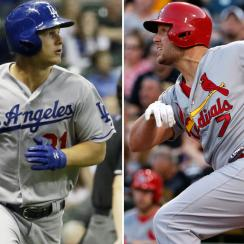 L: Joc Pederson of the Dodgers. R: Matt Holliday of the Cardinals.