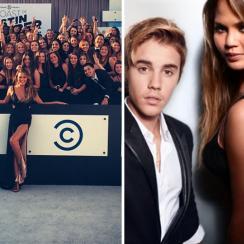 Chrissy Teigen, Justin Bieber and John Legend at Comedy Central's Roast of Justin Bieber
