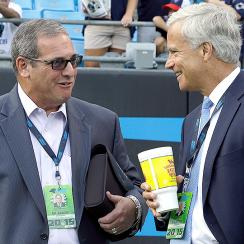 Dave Gettleman (left) with Panthers' team president Danny Morrison.