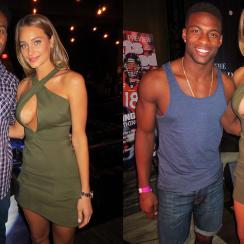 Hannah Davis poses with NFL players Steven Jackson and Emmanuel Sanders