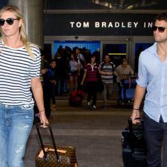 Maria Sharapova and Grigor Dimitrov arrive at Los Angeles International Airport.