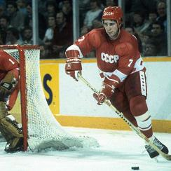 Soviet stars (left to right) Vladimir Myshkin, Alexei Kasatonov and Viacheslav Fetisov took on Wayne Gretzky's Oilers in the 1982-83 Super Series.