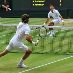 Novak Djokovic outlasted Roger Federer 6-7 (7), 6-4, 7-6 (4), 5-7, 6-4 to win his second title at Wimbledon.