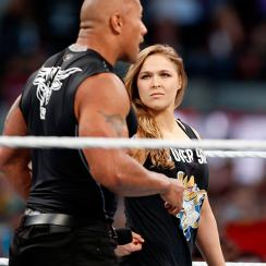 Ronda Rousey and The Rock at WrestleMania 31