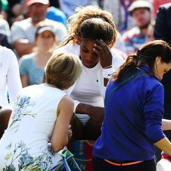 Serena Williams consulted with a doctor before her doubles match with Venus, but attempted to play the match anyway.