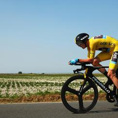 Chris Froome of Great Britain and Team Sky rides during stage eleven of the 2013 Tour de France, a 33KM Individual Time Trial from Avranches to Mont-Saint-Michel.