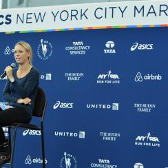 Tennis star Caroline Wozniacki stops by the Jacob K. Javits Convention Center to pick up her NYC Marathon official race bib.
