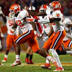 Stephone Anthony (42) clinched Clemson's Orange Bowl victory over Ohio State with an interception.