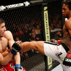 Benson Henderson (right) eventually asserted himself against Rustam Khabilov at UFC Fight Night 42.