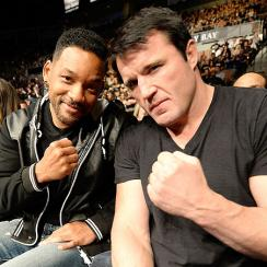 Chael Sonnen, pictured in February with actor Will Smith, will still be involved in UFC post-retirement.