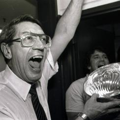 New York Islanders coach Al Arbour celebrates in the locker room as he drinks from the Stanley Cup after the Islanders won their fourth cup in a row, beating the Edmonton Oilers 4-2 to sweep the series at the Nassau Coliseum, Tuesday, May 17, 1983 in Unio