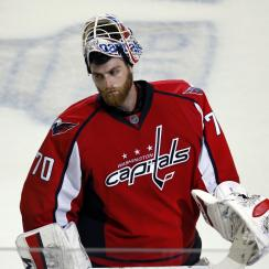 FILE - In this April 16, 2016, file photo, Washington Capitals goalie Braden Holtby (70) skates off the ice after Game 2 in the first round of the NHL Stanley Cup hockey playoffs against the Philadelphia Flyers in Washington. Holtby, the goaltender who ha
