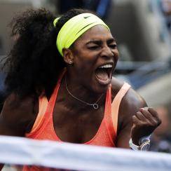 FILE - In this Sept. 2, 2015, file photo, Serena Williams reacts after winning a point against Kiki Bertens, of the Netherlands, during the second round of the U.S. Open tennis tournament in New York. Williams has won the WTA's Player of the Year award fo