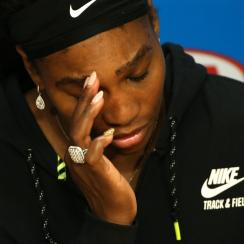 Serena Williams of the United States answers questions at a press conference following her loss to Angelique Kerber of Germany in the women's singles final at the Australian Open tennis championships in Melbourne, Australia, Saturday, Jan. 30, 2016.(AP Ph