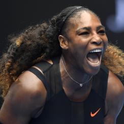 United States' Serena Williams celebrates a point win over Switzerland's Belinda Bencic during their first round match at the Australian Open tennis championships in Melbourne, Australia, Tuesday, Jan. 17, 2017. (AP Photo/Andy Brownbill)