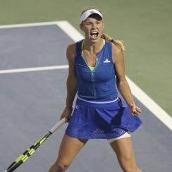 Caroline Wozniacki of Denmark celebrates after she beats Anastasija Sevastova of Latvia during a semi final match of the Dubai Tennis Championships in Dubai, United Arab Emirates, Friday, Feb. 24, 2017. (AP Photo/Kamran Jebreili)