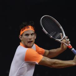 Austria's Dominic Thiem returns the ball to Spain's Albert Ramos-Vinolas at the semi-finals of the Rio Open tennis tournament in Rio de Janeiro, Brazil, Saturday, Feb. 25, 2017. (AP Photo/Felipe Dana)