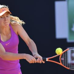 Ukraine's Elina Svitolina returns the ball during her semi final match against Spain's Garbine Muguruza at the Italian Open tennis tournament, in Rome, Saturday, May 20, 2017. (AP Photo/Gregorio Borgia)