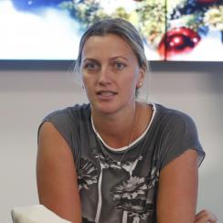 FILE - In this Friday, Dec. 23, 2016 file photo, Czech Republic's tennis player Petra Kvitova makes a statement to the media in Prague, Czech Republic. Two-time Wimbledon champion Petra Kvitova is to decide by the weeks end whether she will be available t