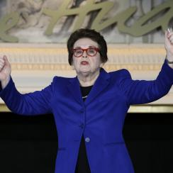 FILE - In this Feb. 4, 2016, file photo, Billie Jean King gestures while speaking at the NFL Women's Summit in San Francisco. Billie Jean King celebrated the 45th anniversary of Title IX at the New York Historical Society, Thursday, June 22, 2017. Title I