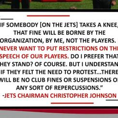 Jets Chairman Christopher Johnson Will Pay Players' Fines for Anthem Protests