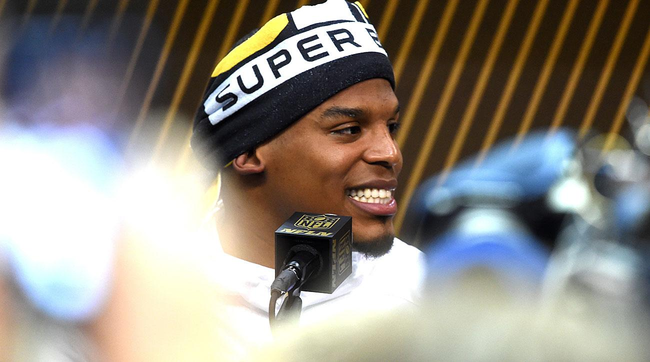 Cam Newton at media night for Super Bowl 50.