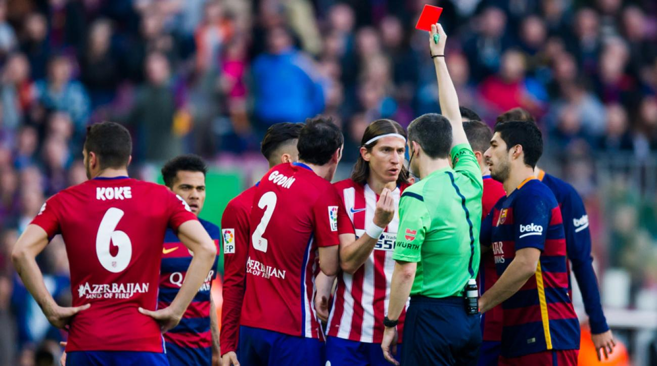 Filipe Luis was sent off for a red-card challenge on Lionel Messi