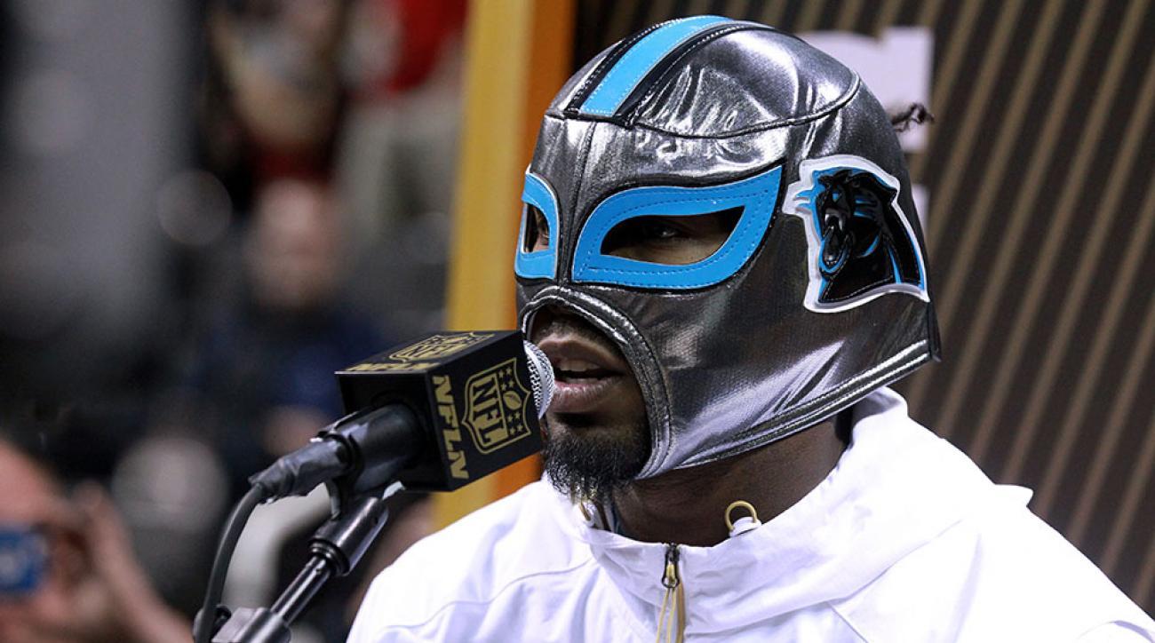 panthers josh norman luchador mask super bowl media day