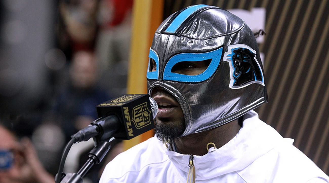 panthers josh norman luchador mask super bowl media day