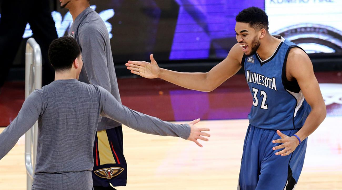 karl anthony towns high five