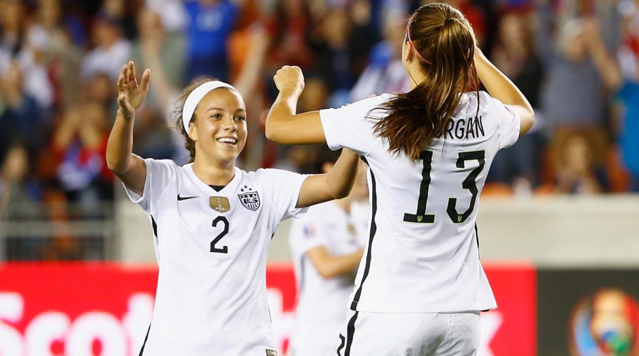 Mallory Pugh celebrates with Alex Morgan in the USA's win over Trinidad & Tobago