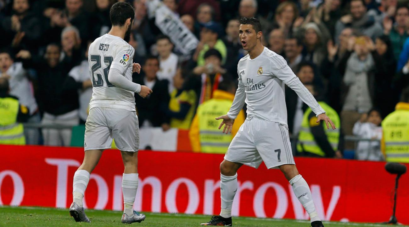 Cristiano Ronaldo celebrates his second goal vs. Espanyol for Real Madrid
