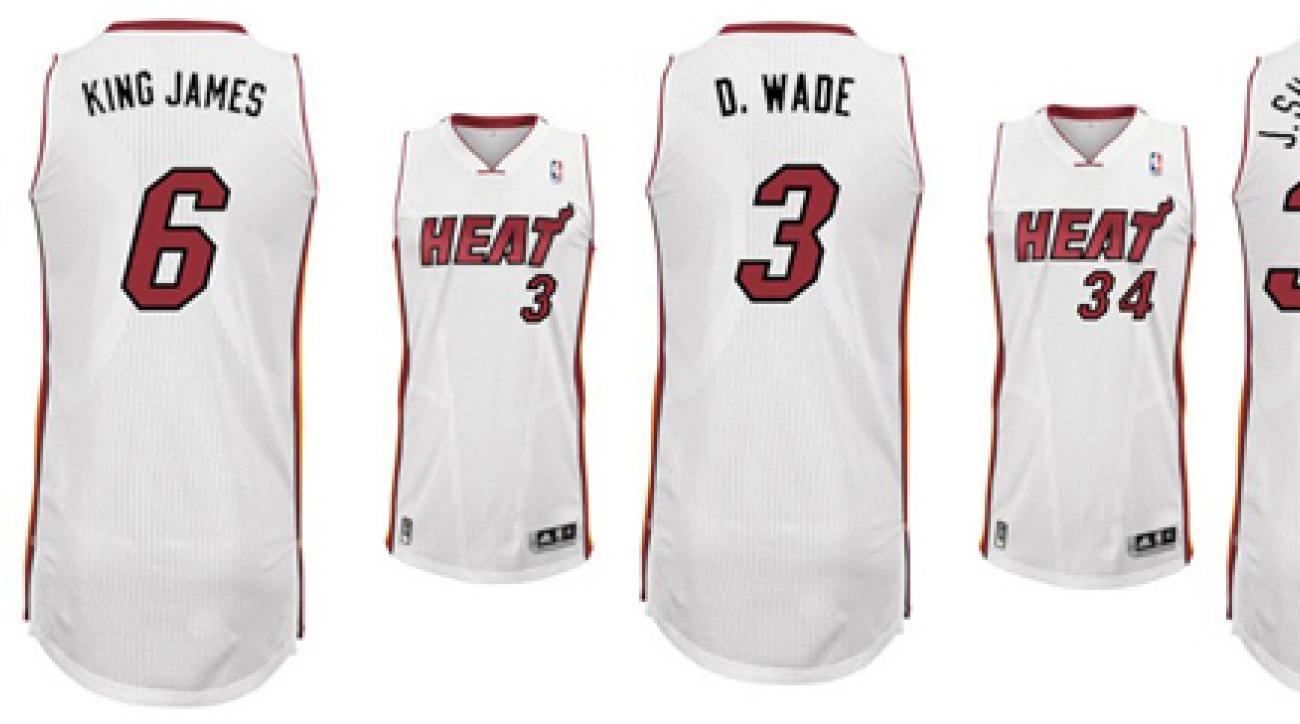 reputable site 06b05 76e50 Heat unveil 'nickname jerseys' for LeBron James, Dwyane Wade ...