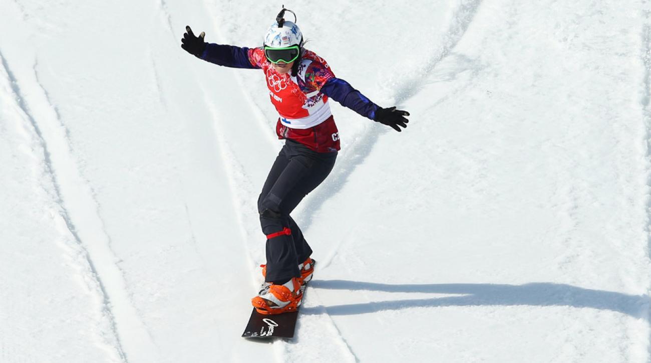 Eva Samkova of the Czech Republic celebrates winning her Ladies' Snowboard Cross Semifinal on day nine of the Sochi 2014 Winter Olympics at Rosa Khutor Extreme Park on February 16, 2014 in Sochi, Russia.