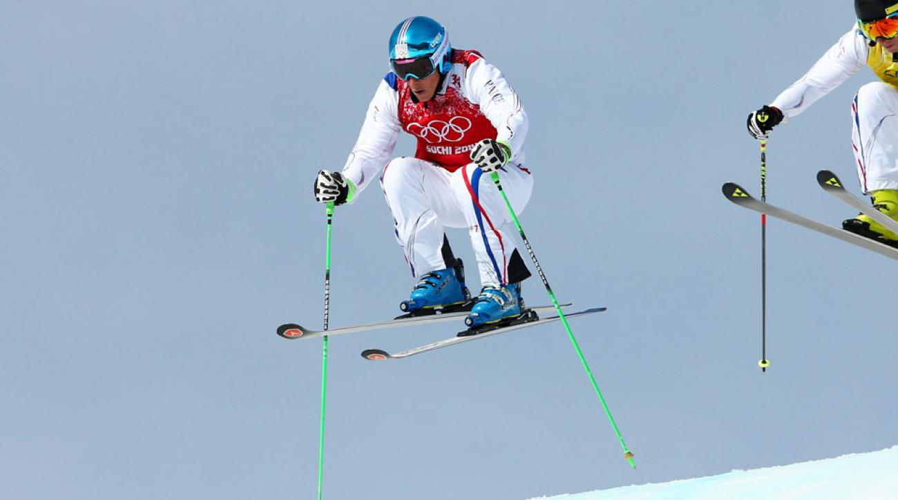 Jean Frederic Chapuis (L) of France leads from Jonathan Midol of France during the Freestyle Skiing Men's Ski Cross Semi Finals on day 13 of the 2014 Sochi Winter Olympic at Rosa Khutor Extreme Park on February 20, 2014 in Sochi, Russia.