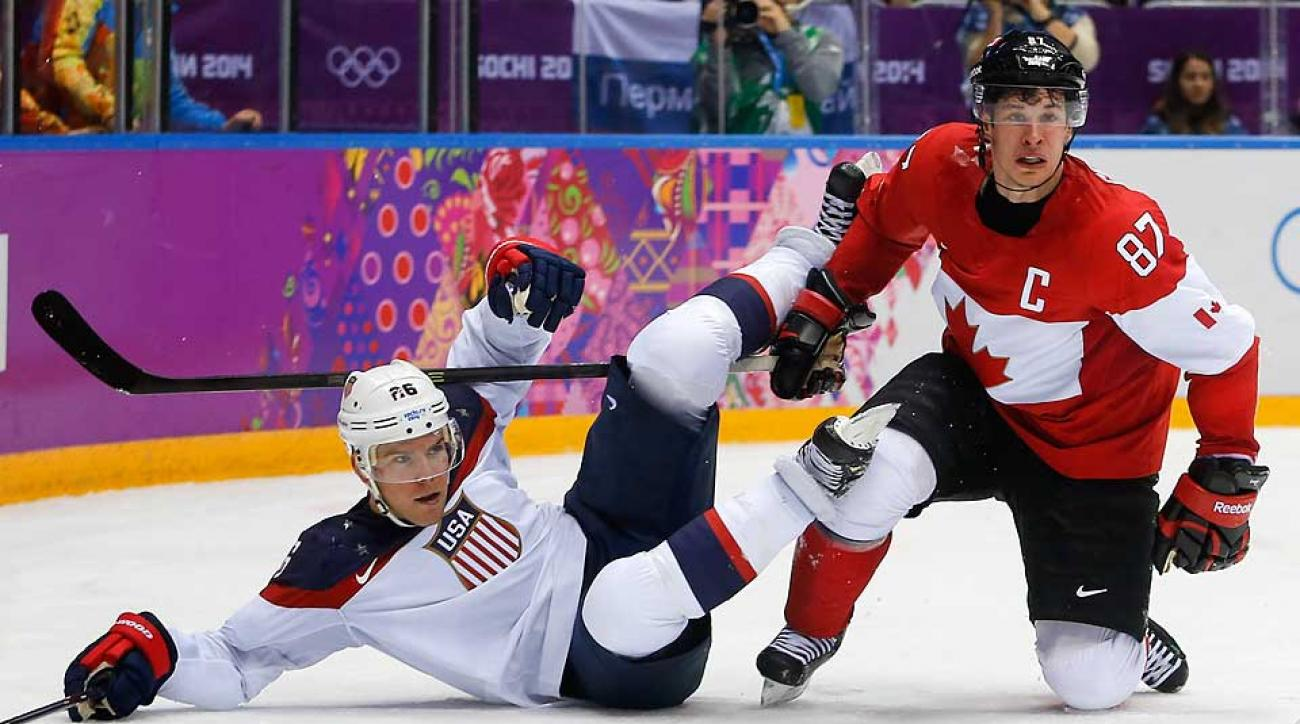 Sidney Crosby (right) and Team Canada knocked Paul Stastny and the U.S. team off its game.