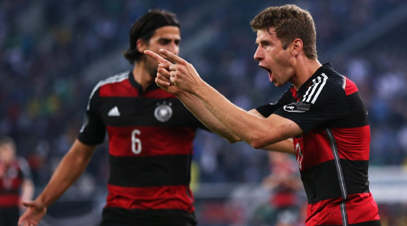 Germany's Thomas Muller celebrates his goal during Sunday's 2-2 draw with fellow World Cup participant Cameroon.