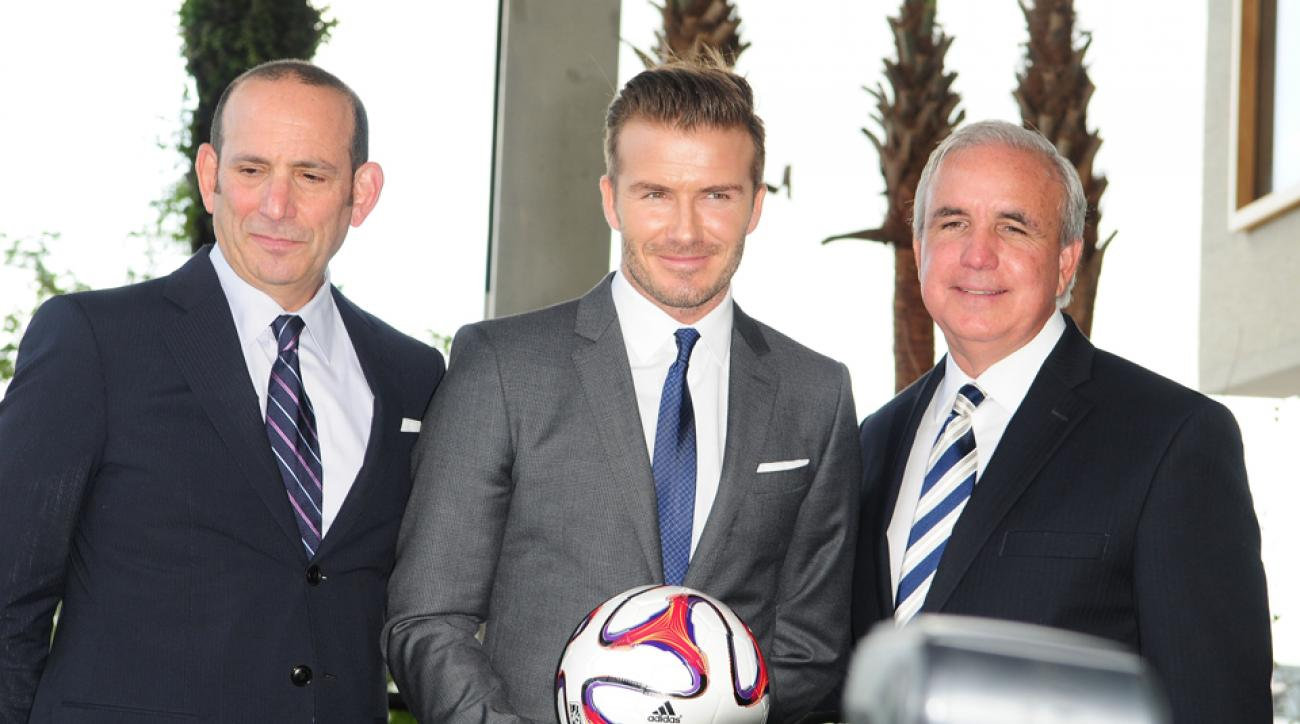 Could David Beckham, center, return to the field as a player-owner in Miami?