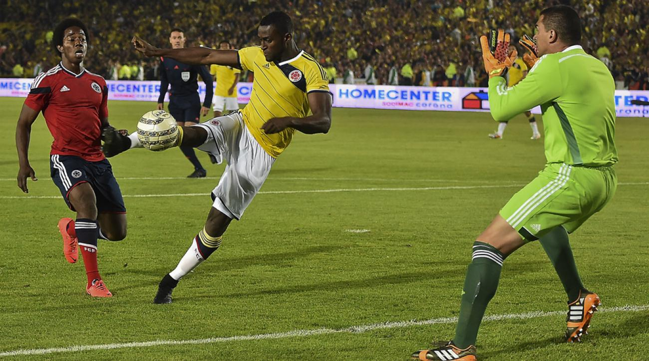 Colombia forward Jackson Martinez, center, will be looked upon to pick up the scoring slack with Radamel Falcao unavailable for the World Cup.