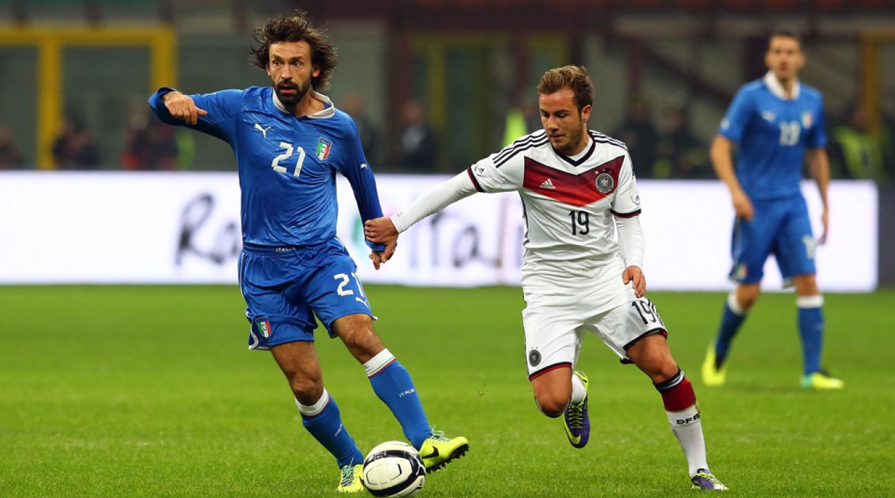 Ageless midfield wonder Andrea Pirlo, left, will pull the strings for Italy in a loaded Group D at the World Cup.