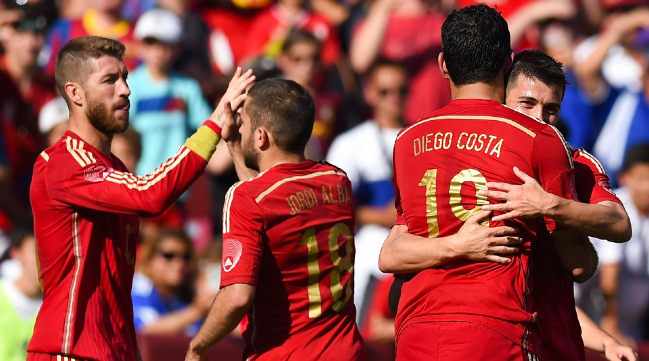 David Villa, right, gets a celebratory hug from Diego Costa after scoring in Spain's 2-0 win over El Salvador.