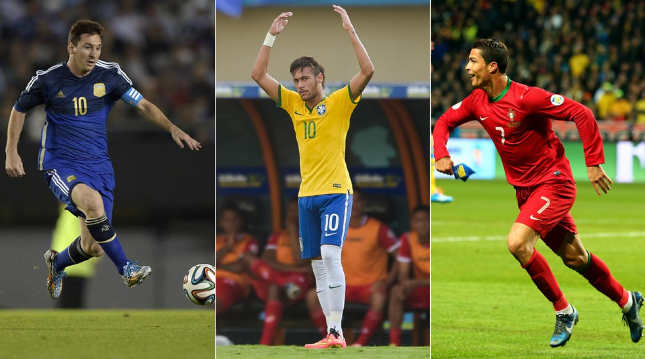 From left, Lionel Messi, Neymar and Cristiano Ronaldo all have high hopes and expectations at the 2014 World Cup.